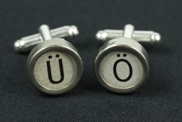 Ä Ü Ö German Umlauts Cuff Links Cufflinks Vintage Typewriter Keys Miniblings White – Bild 3
