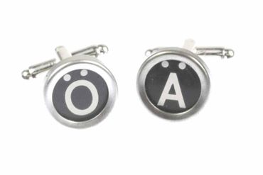 Ä Ü Ö German Umlauts Cuff Links Cufflinks Vintage Typewriter Keys Miniblings Black – Bild 1