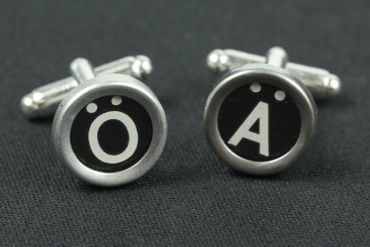 Ä Ü Ö German Umlauts Cuff Links Cufflinks Vintage Typewriter Keys Miniblings Black – Bild 3