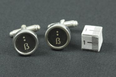 SS  German Puntuation Cuff Links Cufflinks Vintage Typewriter Keys Miniblings Eblackett Characters Black – Bild 3