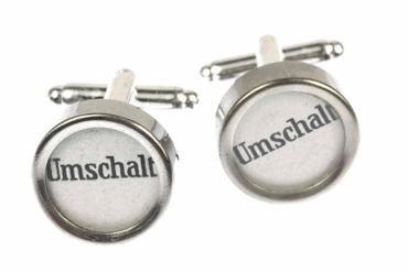 Umschalter German Cuff Links Cufflinks Vintage Typewriter Keys Miniblings Large White – Bild 1