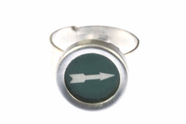 Green Arrow Key Ring Vintage Typewriter Keys Miniblings Upcycling Green – Bild 7