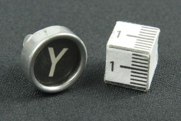 Request Letter Customized Initial ABC Brooch Pin Badge Miniblings Button Initials Black – Bild 7