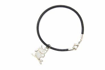 Owl Birds Miniblings Bracelet Wristlet Dangle Leather Bracelet