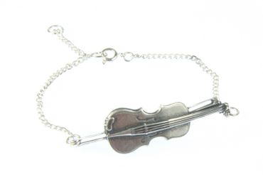 Violin Viola Violinist Music Miniblings Bracelet Wristlet Dangle Silver – Bild 2