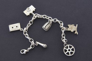 Camera Music Tape Cassette Wol Microphone Bracelet Wristlet Dangle Miniblings Silver – Bild 3