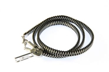 Zipper Pull Bracelet Wristlet Dangle Vintage Upcycling Recycling Miniblings Wrap Bracelet Black – Bild 1