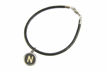 Your Letter On Request Typewriter Keys Letters Initials Key Bracelet Wristlet Dangle Customized Custom Leather Chain Black