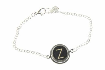 Your Letter On Request Typewriter Keys Letters Initials Key Bracelet Wristlet Dangle Customized Custom Silver Black – Bild 1