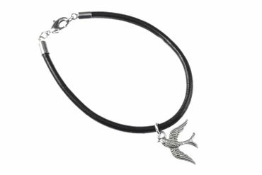 Swallow Swallows Bird Birds Miniblings Bracelet Wristlet Dangle Leather Silver