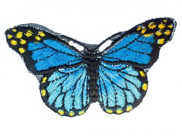 Butterfly Patch Hotfix Iron On Application Iron On Motif Miniblings Morpho Blue 8X6cm – Bild 1