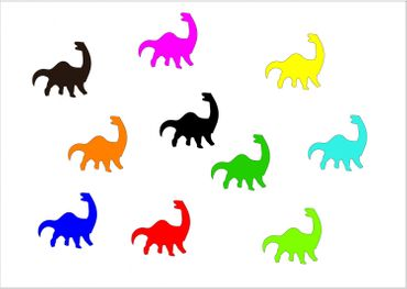 10X Patch Hotfix Iron On Motif Miniblings 26mm Glossy Gloss Dino Dinosaur – Bild 1