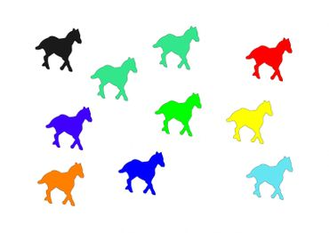 10X Patch Hotfix Iron On Motif Miniblings 25mm Glossy Gloss Horse Pony Horses