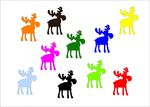 10X Patch Hotfix Iron On Motif Miniblings 32mm Glossy Gloss Elk Reindeer Xmas 001