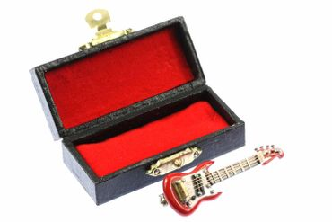 Electric Guitar Brooch Guitaris Band Star Music Miniblings + Box Red – Bild 1