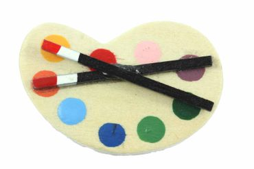 Color Palette Brooch Miniblings Pin Badge Painter Artist Painting Paint Wood – Bild 1