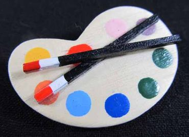 Color Palette Brooch Miniblings Pin Badge Painter Artist Painting Paint Wood – Bild 3