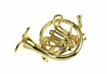 Horn Brooch Miniblings Pin Badge Pin Gold Plated + Box