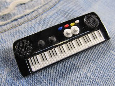 Keyboard Brooch Electric Piano Organ Band Music Star Pianioplayer Miniblings Pin – Bild 3