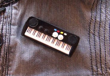Keyboard Brooch Electric Piano Organ Band Music Star Pianioplayer Miniblings Pin – Bild 4