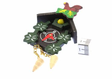 Cuckoo Clock Brooch Black Forest Miniblings Button Oktoberfest Brown Wood XL – Bild 3