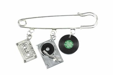 Music Brooch Safety Pin Pin Dj Turntable Cassette Record 3-Set Silver Plated – Bild 1