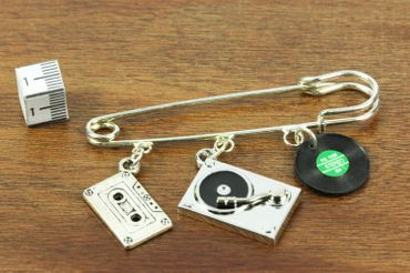Music Brooch Safety Pin Pin Dj Turntable Cassette Record 3-Set Silver Plated – Bild 2