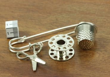 Sewing Brooch Thimble Spool Scissors Miniblings Tailor Sew Crafting Craft Silver Plated – Bild 3