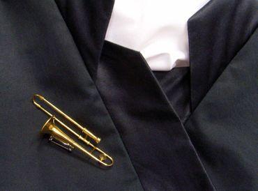 Trombone Brooch Miniblings Button Pin Trombonist Gold Plated + Box – Bild 3