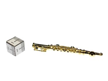 Flute Brooch Miniblings Pin Flutist Gold Plated + Box – Bild 4