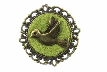Dove Brooch Pigeons Bird Miniblings Button Pin Bronze Green – Bild 1