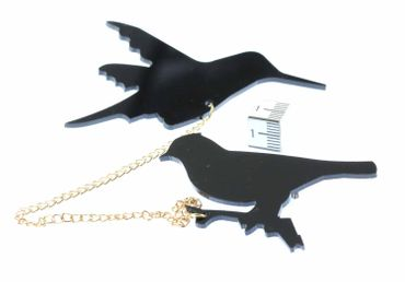 Birds Double Brooch Bird Brooch Sparrow Chain Miniblings Pin Badge Black – Bild 3