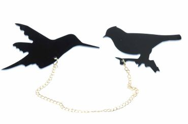 Birds Double Brooch Bird Brooch Sparrow Chain Miniblings Pin Badge Black