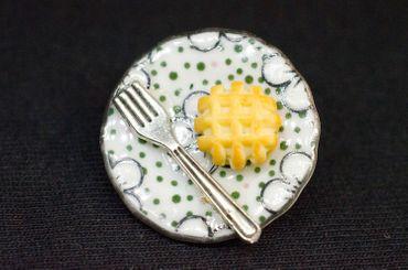 Waffel Teller Brosche Waffeln Kuchenteller Miniblings Essen Dessert Dots Punkte – Bild 3
