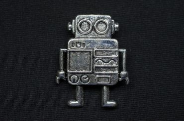 Robot Brooch Pin Brooch Button Miniblings Scifi  Science Ficiton  Steampunk Silver XL – Bild 1