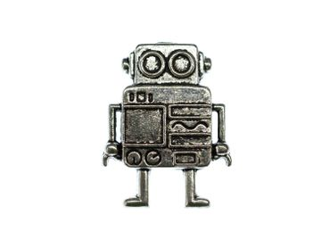 Robot Brooch Pin Brooch Button Miniblings Scifi  Science Ficiton  Steampunk Silver XL – Bild 3