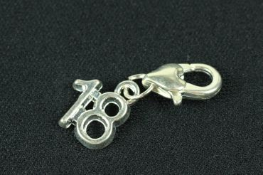 Number Eighteen 18 Charm For Bracelet Wristlet Dangle Miniblings Charms Birthday Numbers