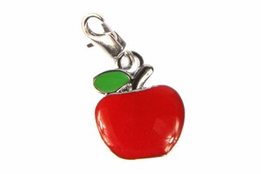Apfel Äpfel Obst Charm Zipper Anhänger Gesund Pull Miniblings Metall flach rot
