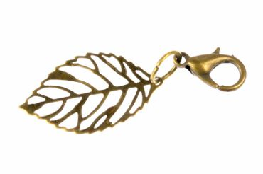 Leaf Leaves Charm For Bracelet Wristlet Dangle Miniblings Filigree Plant Bronze
