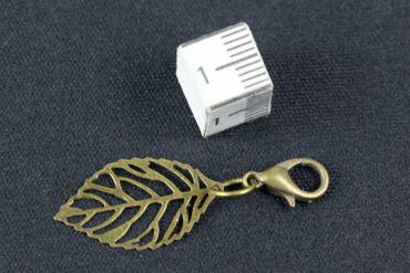 Leaf Leaves Charm For Bracelet Wristlet Dangle Miniblings Filigree Plant Bronze – Bild 2