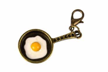 Frying Pan Fried Charm For Bracelet Wristlet Dangle Miniblings Cooking Pan Bronze
