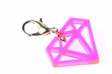 Diamant Charm Anhänger Bettelarmband Miniblings Bling Kristall pink Acrylglas – Bild 1