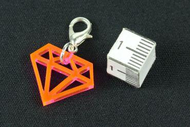 Diamant Charm Anhänger Bettelarmband Miniblings Bling Kristall pink Acrylglas – Bild 3
