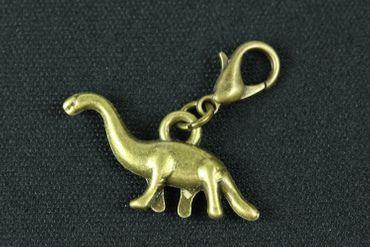 Dino Charm Anhänger Bettelarmband Miniblings Charms Dinosaurier Bronze Langhals – Bild 2
