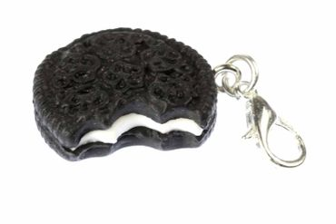 Double Cookie With Bite Charm For Bracelet Wristlet Dangle Miniblings Charms Biscuit Dark