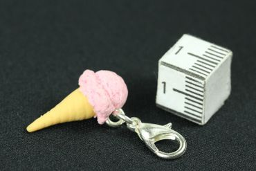 Ice Strawberry Strawberry Waffle Mint Charm Icecream Eiswaffel Miniblings Pink – Bild 3