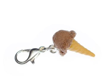 Ice Chocolate Ice Cream Mint Chocolate Waffle Ice Cream Cone Charm Icecream Miniblings Brown – Bild 1
