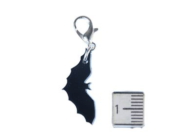Bat Charm For Bracelet Wristlet Dangle Miniblings Vampire Halloween Acrylic Black – Bild 2