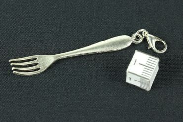 Fork Cutlery Charm Zipper Pull Pendant For Bracelet  Wristlet Miniblings Forks Silver – Bild 3