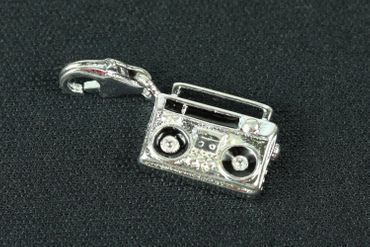 Boombox Music Cassette Player Recorder Charm Miniblings Cassette Recorder Mixtape Music – Bild 1